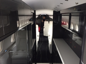 Global Express completion galley area with Excellence Aviation services